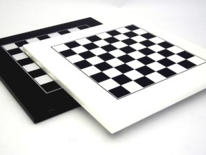 White/Black Laquered Wood Chessboard