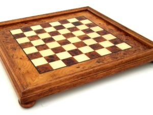 Briar Elm Wood Chessboard With Wooden Frame (Square 1,9 Inch)