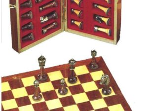 Mahogany Inlaid Chessboard (With Pieces)