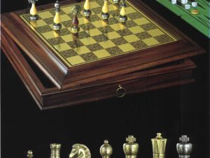 Gonzalo Brass Chessboard(With Container And Backgammon Set)