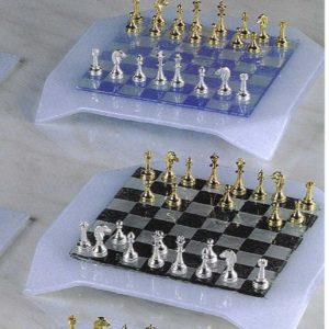 Venetian Glassware Handkerchief Complete Set(Small Metal GoldSilver Chessmen)