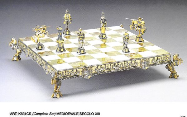 Ancient Medioeval Century XIII Complete Chess Set (Board And Pieces)