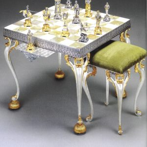 Medici Family Versus Pazzi Family Chess Stool