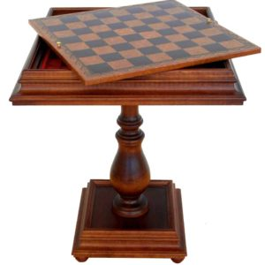 Wooden Chess Table, Leatherlike Top