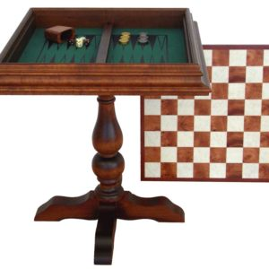Wooden Chess Table With Velevet Backgammon