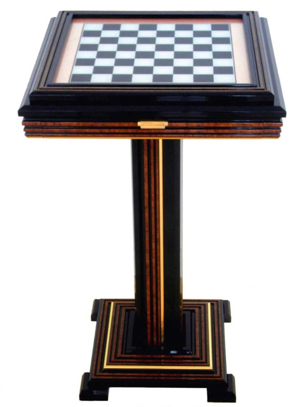 Laquered Wooden Chess Table With Glass Top