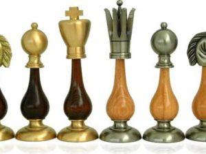 King Size Giants BrassWood Chessmen