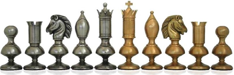 King Size Tall Solid Brass Chessmen