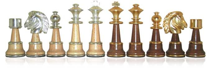 Classic Giant Brass Wood Chessmen (GoldSilver Plated)