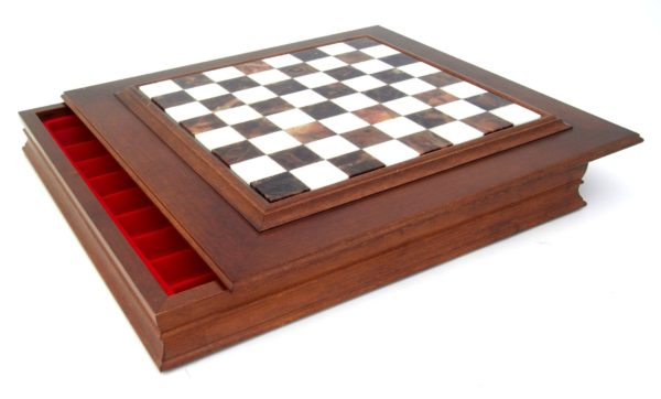 Chessboard In Wood-Alabaster With Box Inside (Square 1,7 Inch)