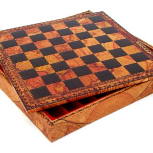 "Chessboard-Box (World Map Theme) - Square 1,3"""