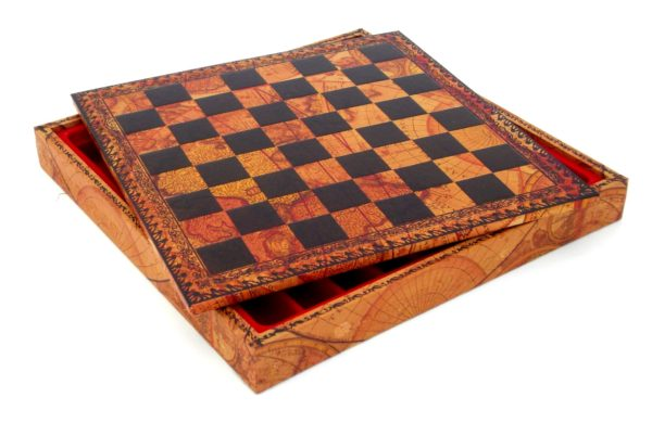 Chessboard-Box (World Map Theme) - Square 1,3""