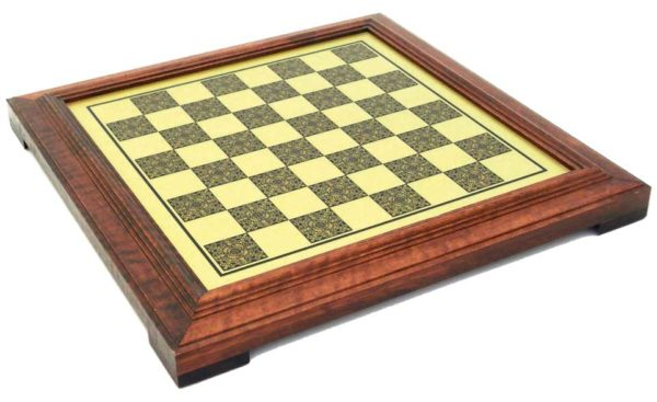 Brass Chessboard With Wooden Frame (Square 1,6 Inch)