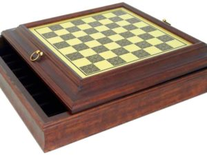 Brass/Wooden Chessboard With Box Inside (Square 1,6 Inch)