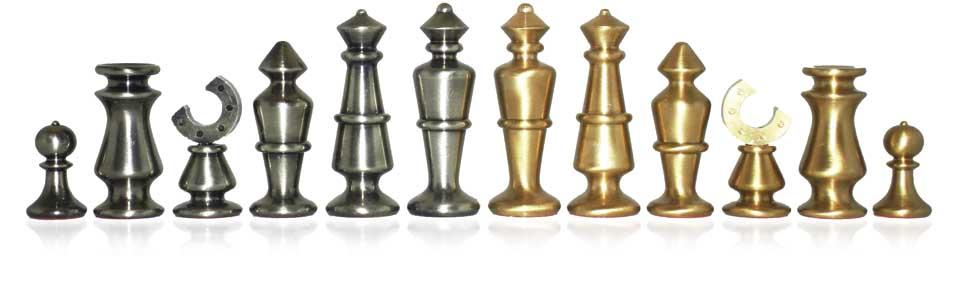 Stylized Brass Chessmen