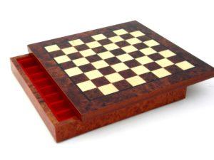 Briar Elm Wood, Hand Inlaid Chessboard With Box Chessmen