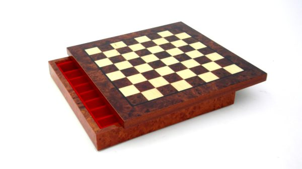 Briar Elm Wood, Hand Inlaid Chessboard With Box Chessmen