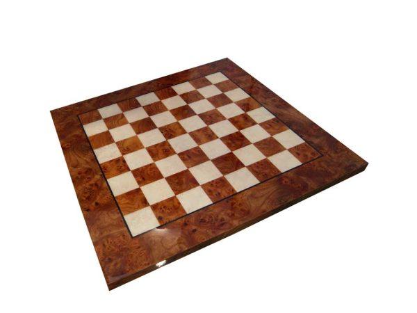 Briar Elm Wood Chessboard, Glossy Finish (Square 1,5 Inch)