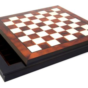 Walnut And Maple Wooden Chessboard With Box For Pieces Inside (Square 1,9 Inch)