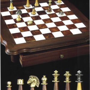 BrassHornbeam - Inlay Alabaster Chessboard(With Double Cases)