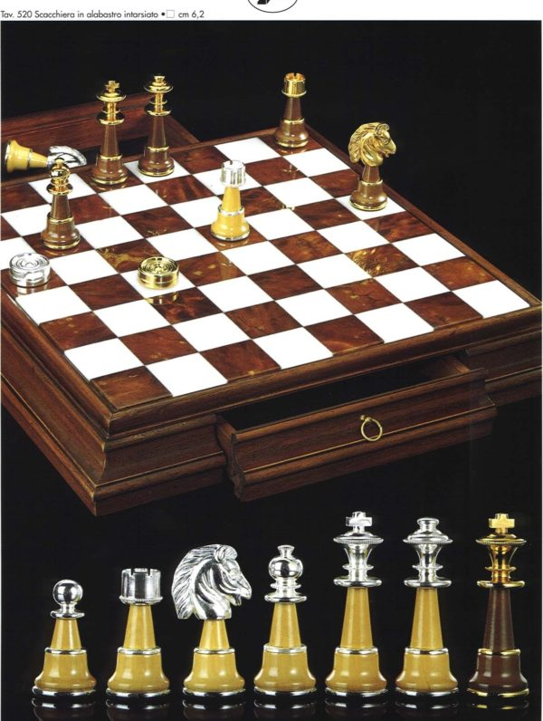 Giant Inlay Alabaster Chessboard