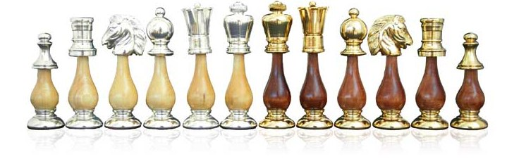Danton BrassWood Chessmen (Gold/Silver Plated)