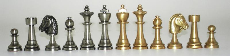 Staunton 26 Medium Brass Chessmen