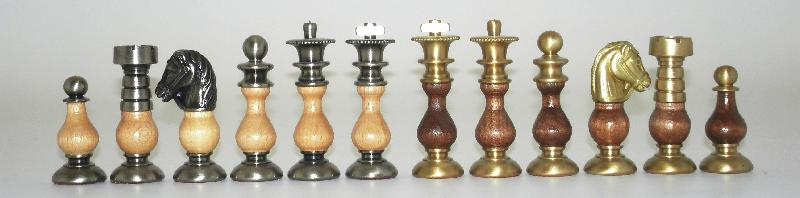 French Class BrassWood Chessmen